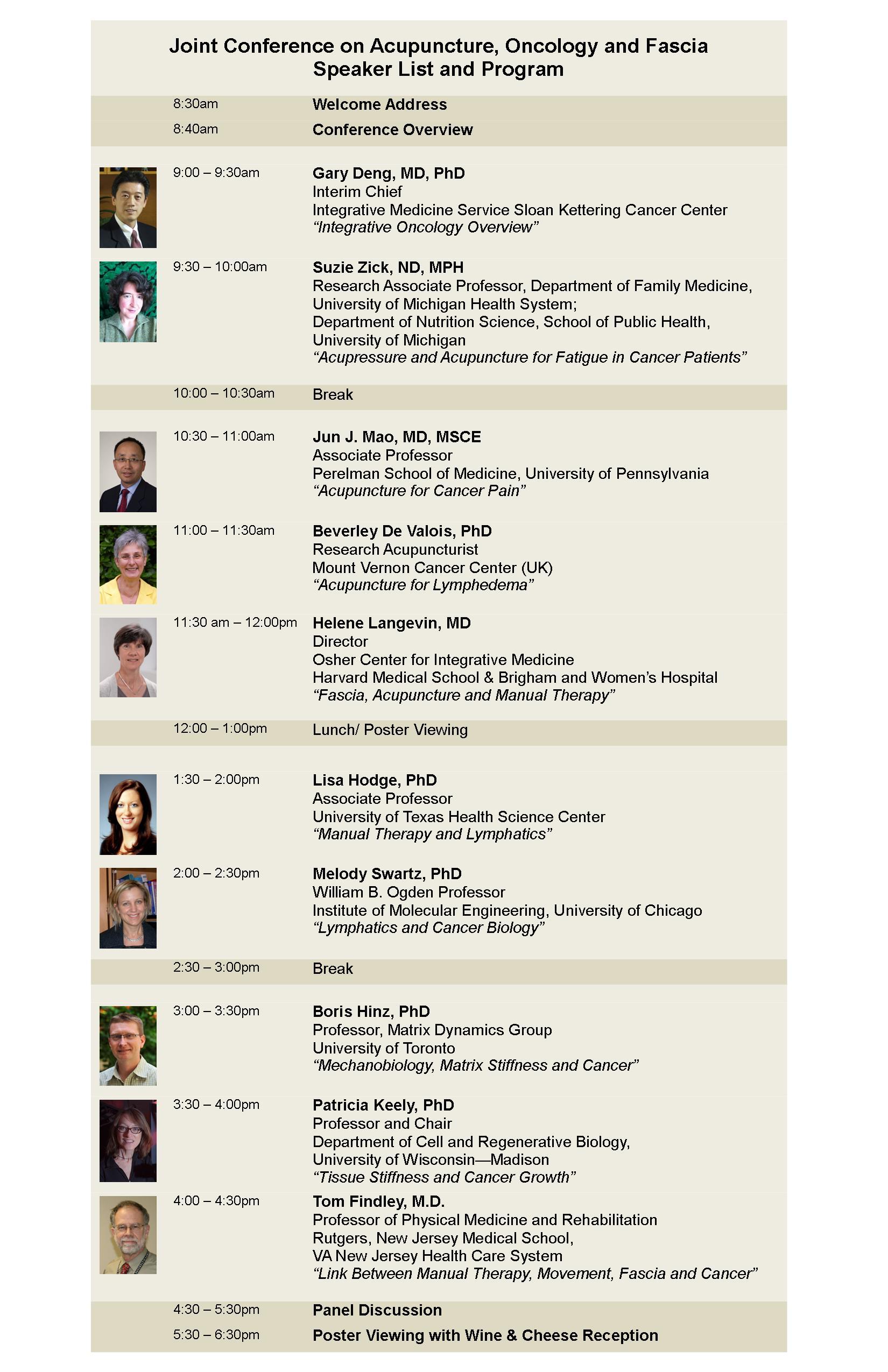 Speaker List and Program 10.07.15 630pm finish